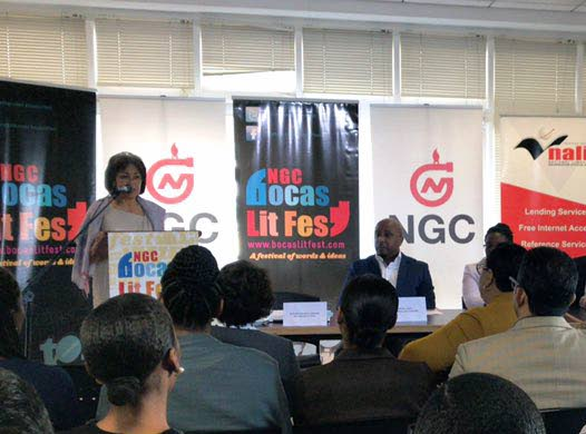 This photo, posted to the NGC Bocas Lit Fest twitter account, shows the festival's founder Marina Salandy-Brown speaking yesterday at the launch of the 2019 edition of the festival at the National Library in Port of Spain.