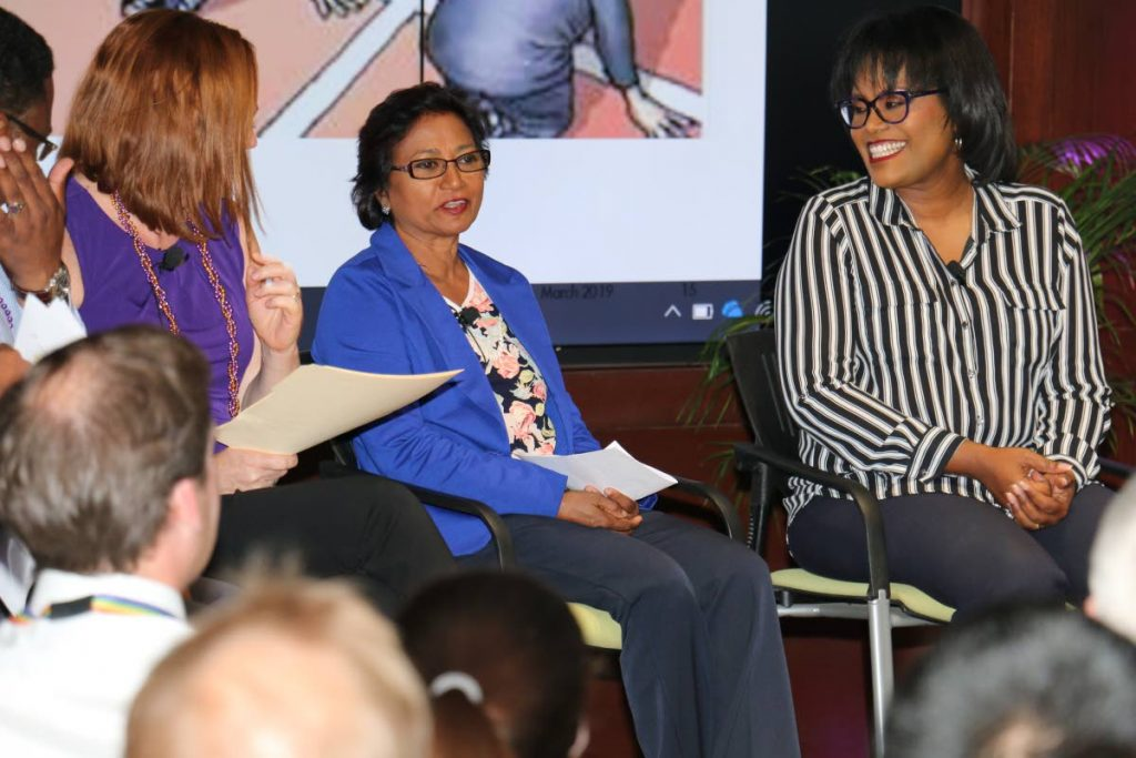 Hulsie Bhaggan (centre), clinical director, New Life Ministries Rehabilitation Centre, shares her experiences during a panel discussion hosted by Shell to commemorate International Women's Day. To her right is panel participant Lisa Wickham, film producer and acting CEO,TTT.