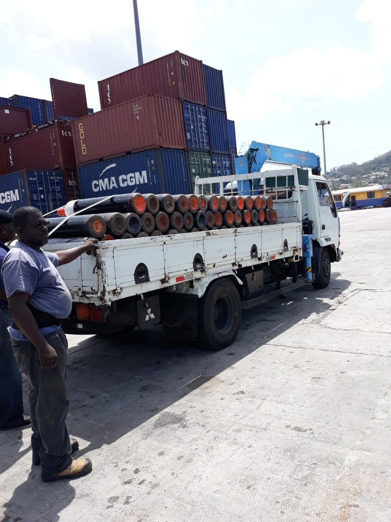 Oxygen loaded on a truck to be taken to Grenada's General Hospital. Photo courtesy TTDF.