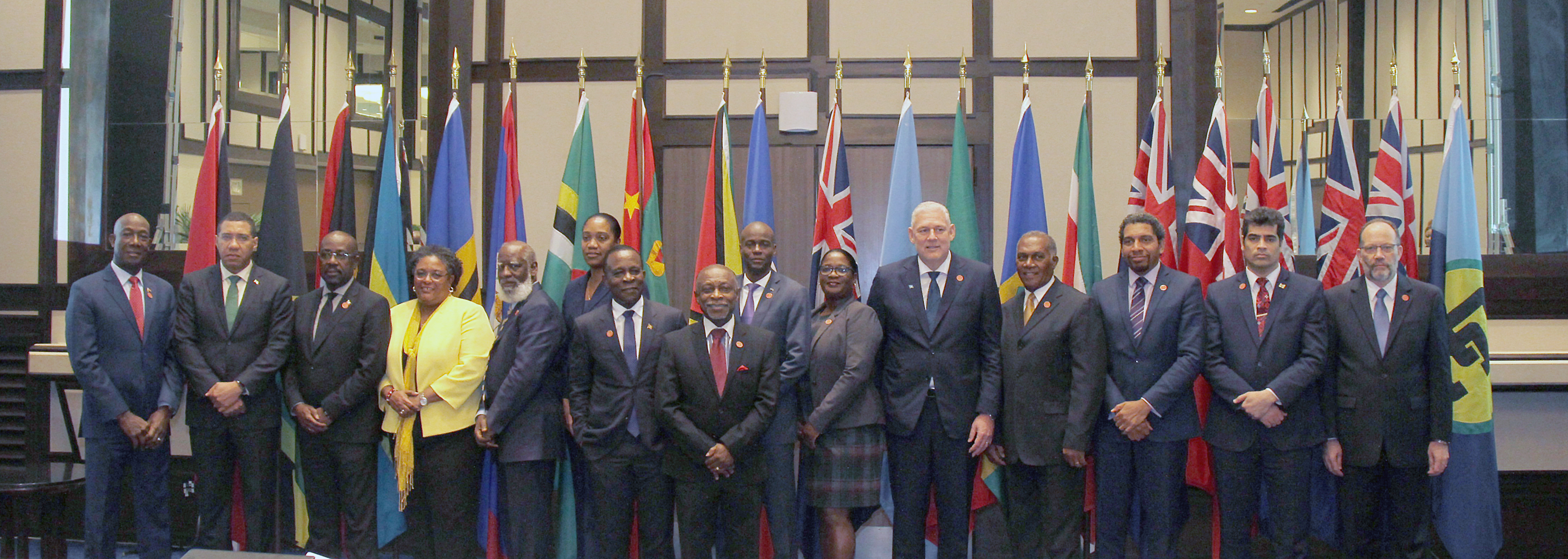 At Left PM Dr Keith Rowley with other heads of Government at the opening of the  18th Special meeting of heads of Government of Caricom single market and Economy held at the Trinidad hilton Port of Spain Government Information Photo