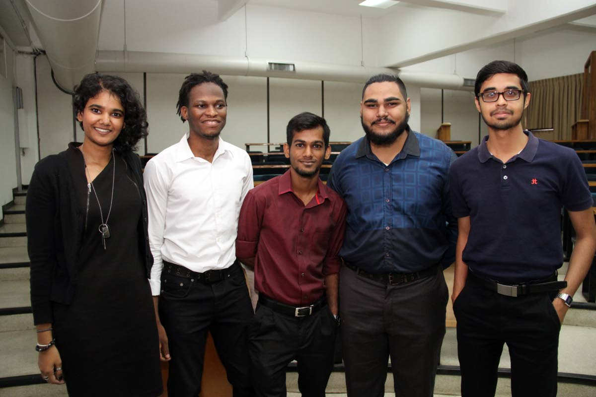 The Bits and Byts team competing in the in iGovTT's inaugural hackathon, HackTT. From left are Abigail Ramkissoon, Caleb Beard, David Ramjit, Usman Mohammed and Nicholas Singh.