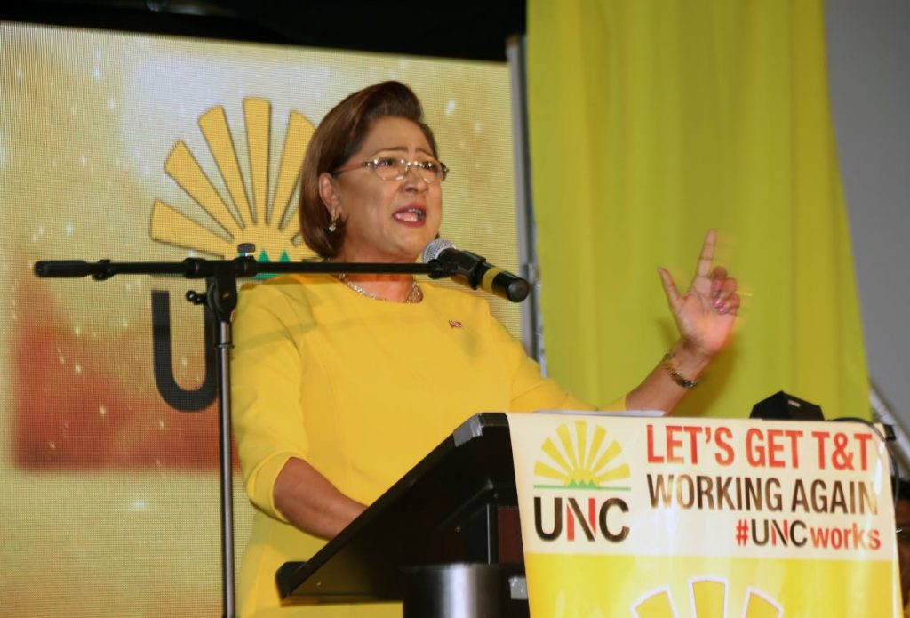 Political Leader of the United National Congress (UNC) Kamla Persad-Bissessar.