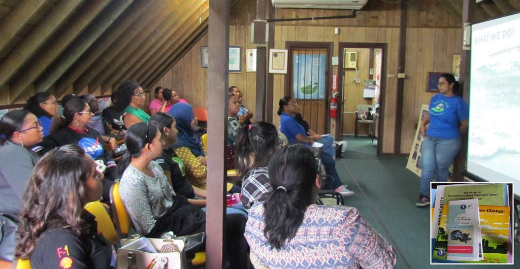 Senior education officer Tamara Goberdhan begins a presentation to the teachers in the trusts' learning centre.