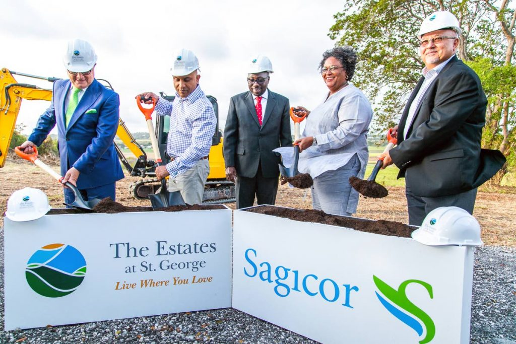 Turning the sod to launch The Estates at George, from left, Stephen McNamara, Sagicor Group chairman; Ravi Rambarran, Sagicor Group chief operating officer; Member of Parliament for St George South, Dwight Sutherland; Prime Minister of Barbados Mia Amor Mottley; and Edward Clarke, executive vice president and general manager, Sagicor Life Inc Barbados.