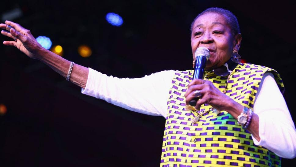 Calypso Rose performs at Coachella Valley Music and Arts Festival, California on Friday. PHOTO: INSIDE EDITION