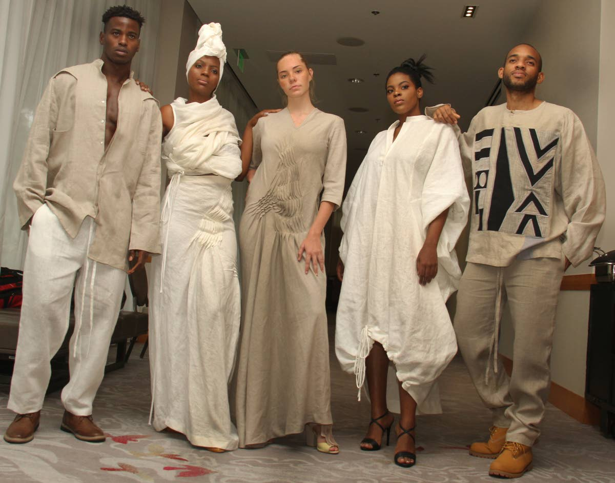 Models wear outfits designed by the Cloth at the launch of the O2N Style 2, Style Me Caribbean on April 17 at the San Fernando Room, Hyatt Regency, Wrightson Road.