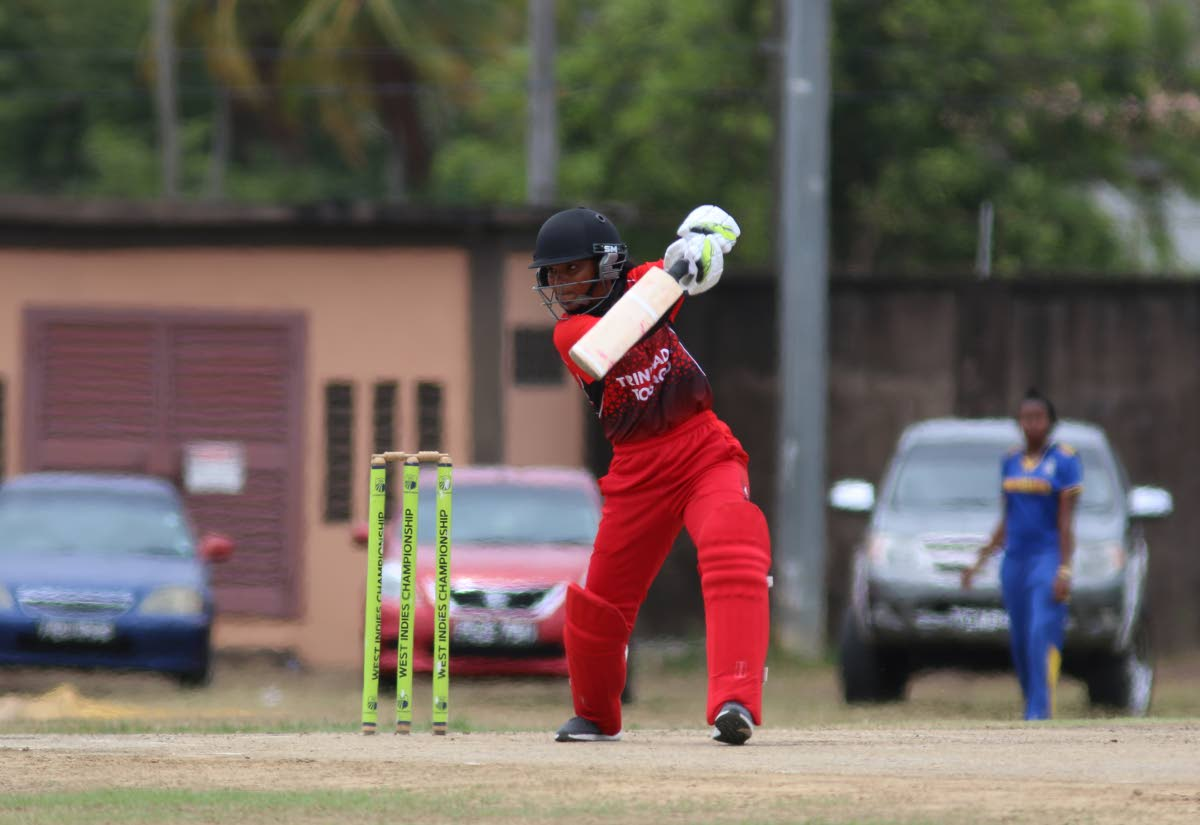A TT batter plays a shot in a previous round of the Cricket West Indies TT Women's Cricket Association Under-19 T20 competition. PHOTO BY ANSEL JEBODH