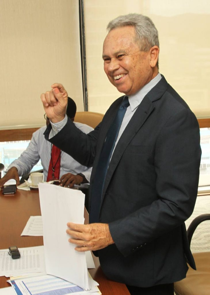 File photo: Finance Minister Colm Imbert in a jovial mood yesterday at a media conference at the Financial Complex in Port of Spain.  PHOTO BY ROGER JACOB