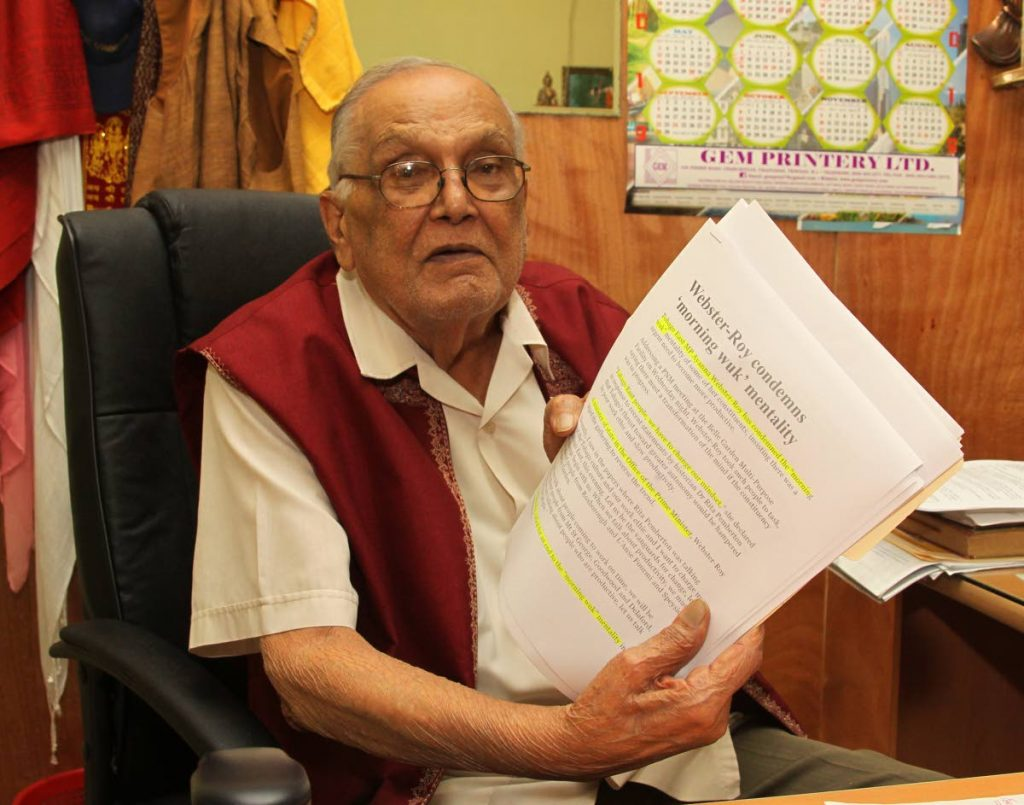 I DID NOTHING WRONG: Maha Sabha leader Satnarayan Maharaj shows information gleaned from newspaper reports on which he based his comments on Tobagonians as being lazy. He spoke at his office in Radio and TV Jaagriti station in Tunapuna.