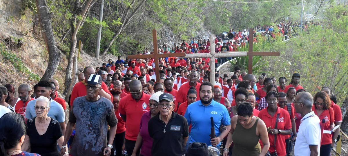 Hundreds turned out at the Way of the Cross Procession which took place on the San Fernando Hill today. Photo by Ansel Jebodh