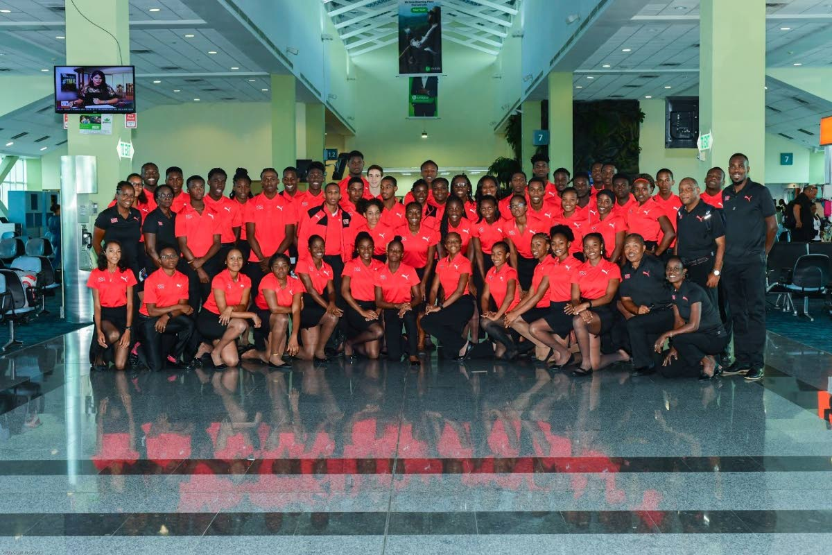 The 2019 TT CARIFTA track and field team before leaving for Cayman Islands, yesterday.    Photo: Dennis Taye Allen