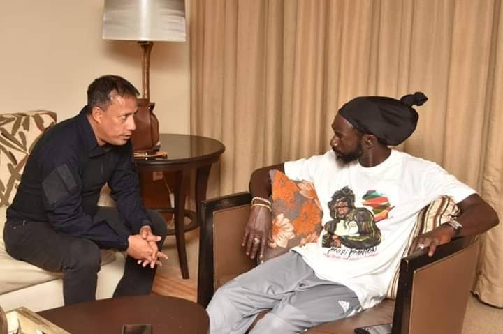 GARY MEETS BUJU: In an image shared on Jamaican reggae singer Buju Banton's Instagram account, Police Commissioner Gary Griffith met with Buju, whose real name is Mark Myrie at the Trinidad Hilton after police searched the singer's hotel room.
