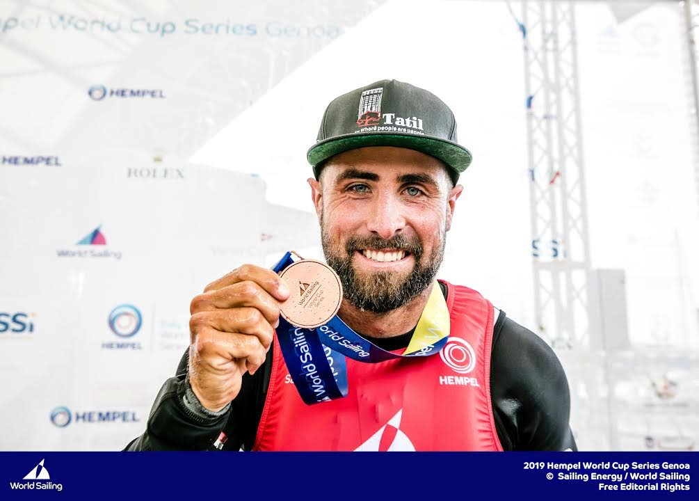 TT Olympic sailor Andrew Lewis with his bronze medal, after placing third at the Hempel World Cup Series 2019 in Genoa, Italy, the highest placing for a TT sailor at a world series event.