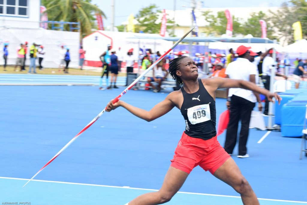 TT's Safiya John competing in the javelin event of the women's heptathlon, at the 2019 Carifta Games, in Grand Cayman, Cayman Islands on Saturday.