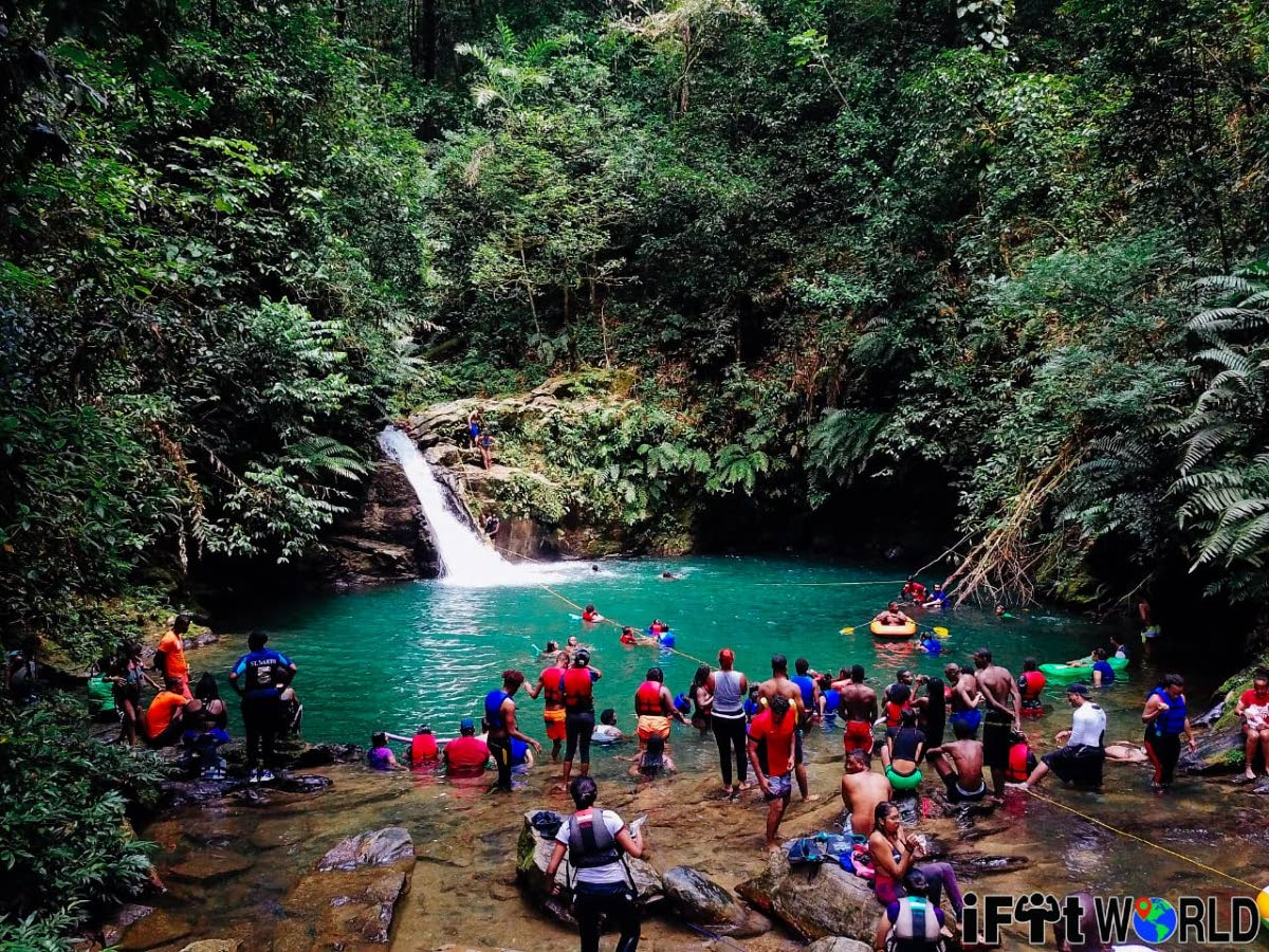 A hiking group captured at the end of a hike to Rio Seco Waterfall.  Photos: Bruce Nisha