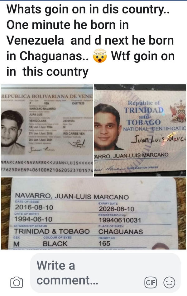 The photo of the Venezuelan passport and TT identification card in the name of the same person.