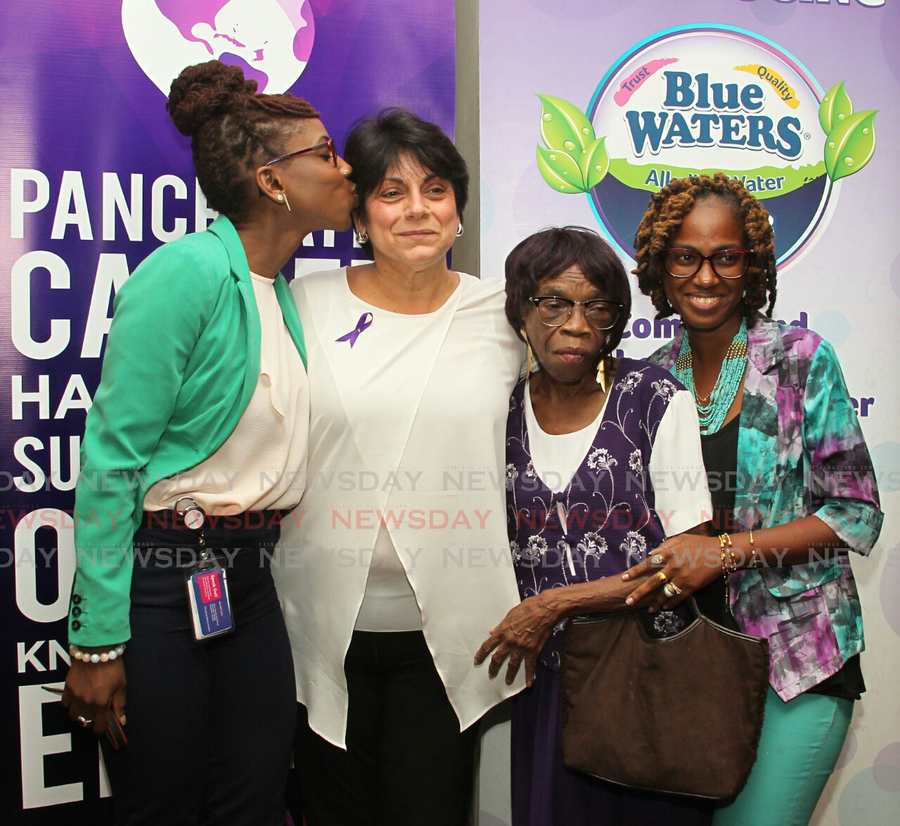 Founder of the John E Sabga Foundation Natalie Sabga, centre, with pancreatic cancer survivor Lucia Moraine, alongside Dzifa Job and Candi John who's father died of pancreatic cancer.  Photo: Roger Jacob