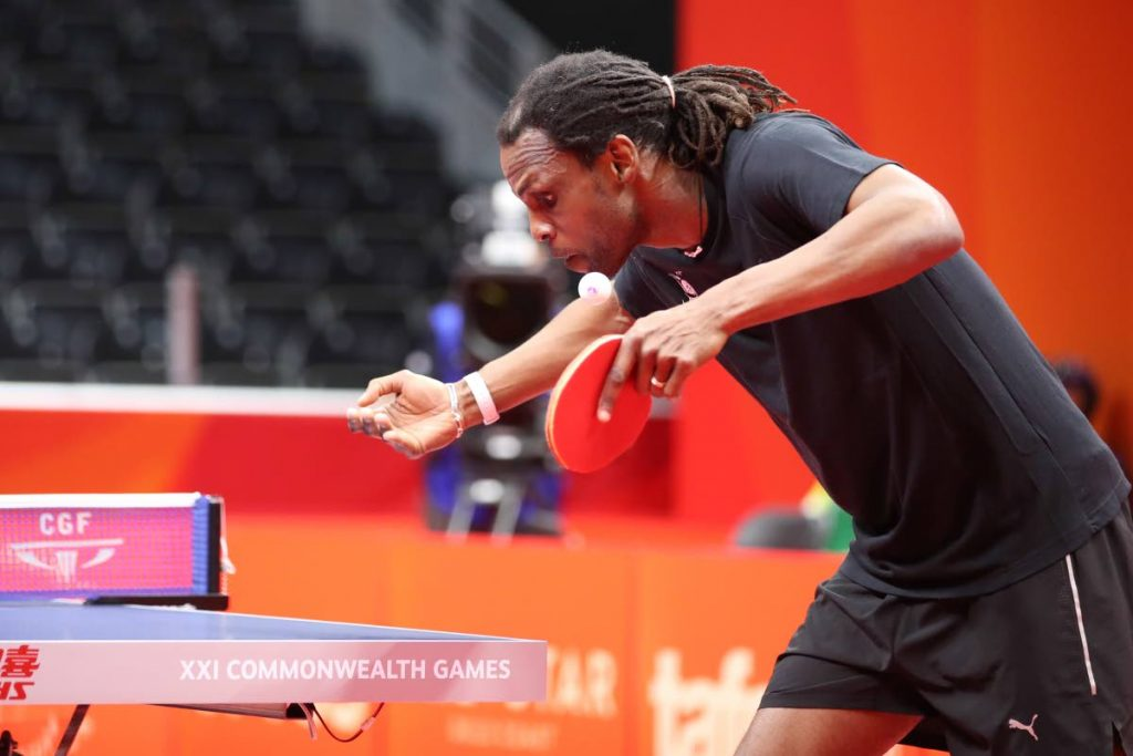 In this file photo, Team TTO's Dexter St Louis serves off to India's Amalraj Anthony (not pictured) during the Gold Coast 2018 XXI Commonwealth Games Team Table Tennis Round 1 at Oxenford Studios, Gold Coast, Queensland, Australia, on April 4,2018.