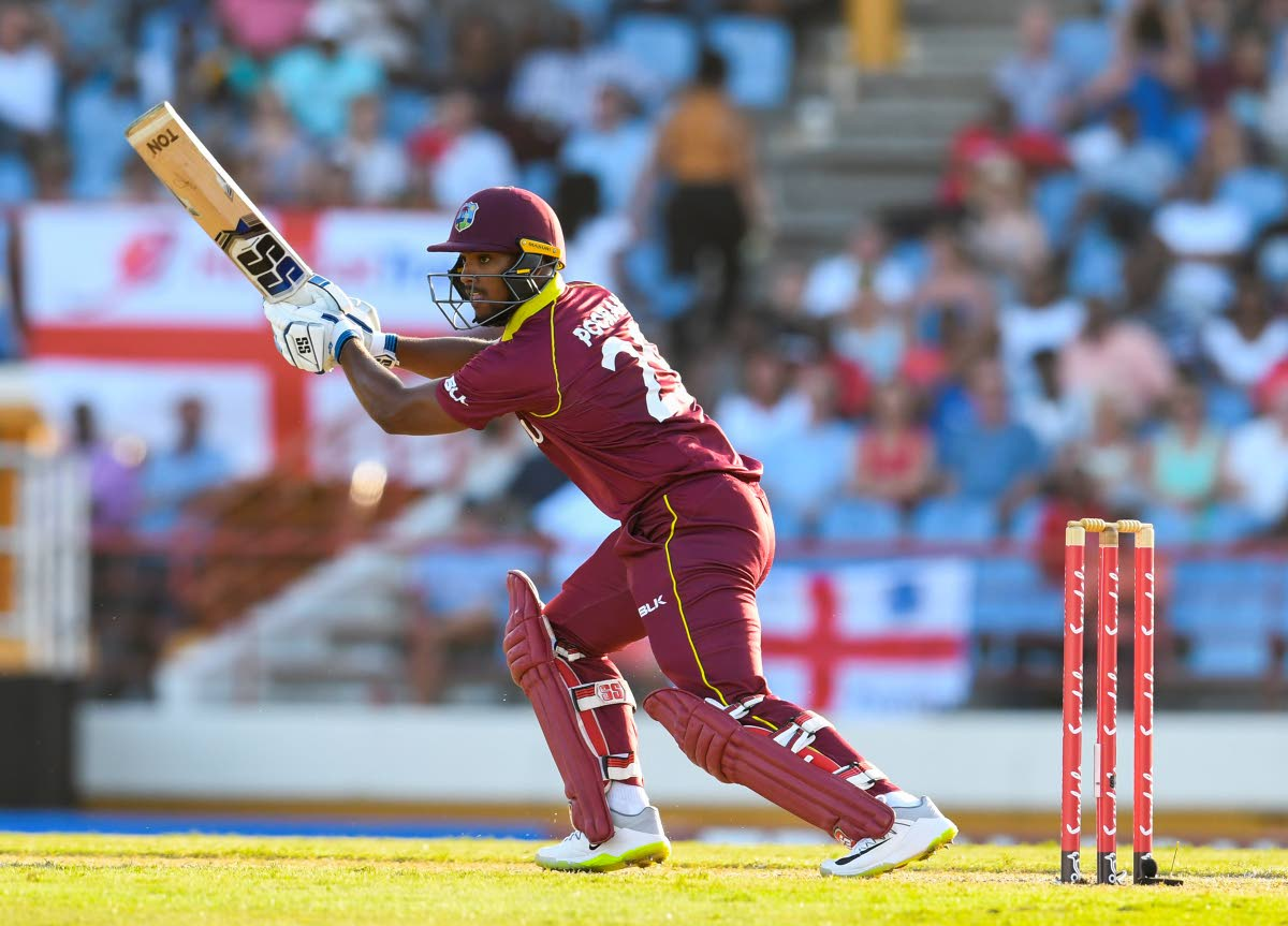 In this file photo, Nicholas Pooran of West Indies hits 4 during a T20 match between the West Indies and England at Darren Sammy Cricket Ground in Gros Islet, Saint Lucia on March 5. AFP PHOTO