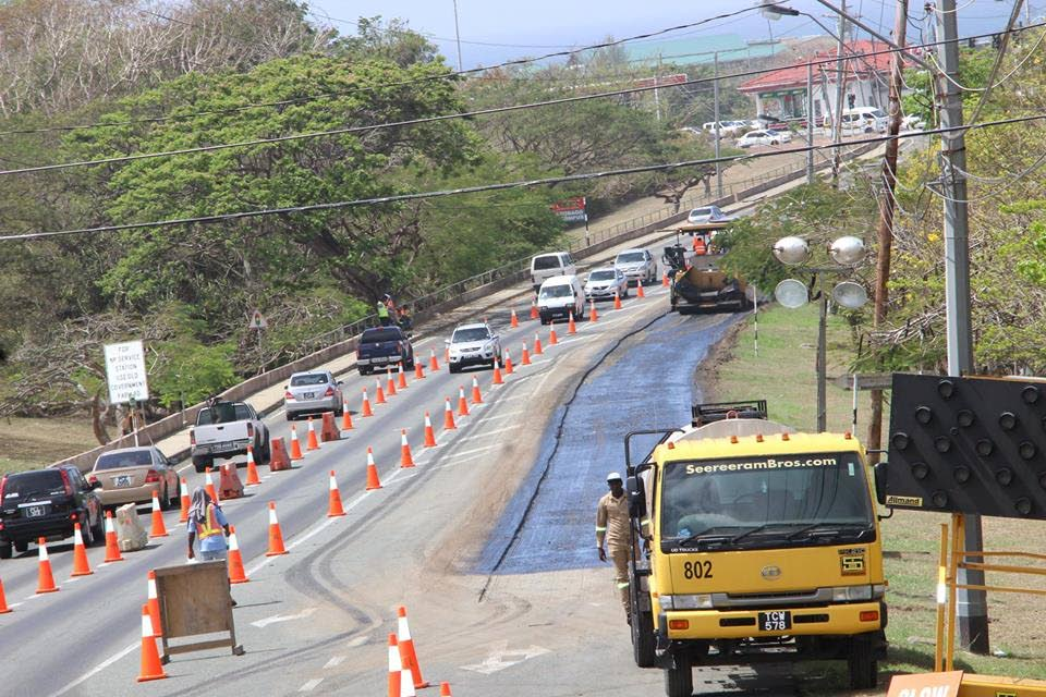 Road rehabilitation ongoing along the Claude Noel Highway.