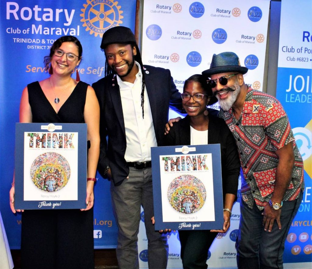 Deputy Ambassador to TT from the Republic of the Federation of France Solene Criniere, left, artist Fitzroy Hoyte and Wendy Dyemma of Alliance Francaise with with saxaphonist Arturo Tappin.