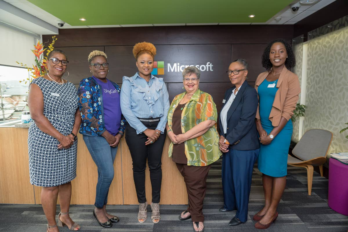 (L-R) Secretary of Soroptimist International Esperance Irmin McKenzie, Microsoft Territory Channel manager Lisette Maxime-Hernandez, Culture Minister Nyan Gadsby-Dolly, and members of Soroptimist International Esperance organsation Marilyn Lalla, Tara Pollanais, and Chinara Griffith. PHOTO COURTESY MICROSOFT TT LTD