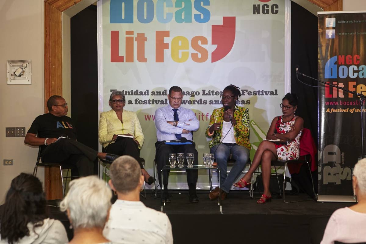 An Equal Place panellists Colin Robinson, Sophia Chote, Mariano Browne, Attillah Springer and Dr Sheila Rampersad at the May 2 event put on by the Bocas Lit Fest at the National Library, Abercromby Street, Port of Spain.