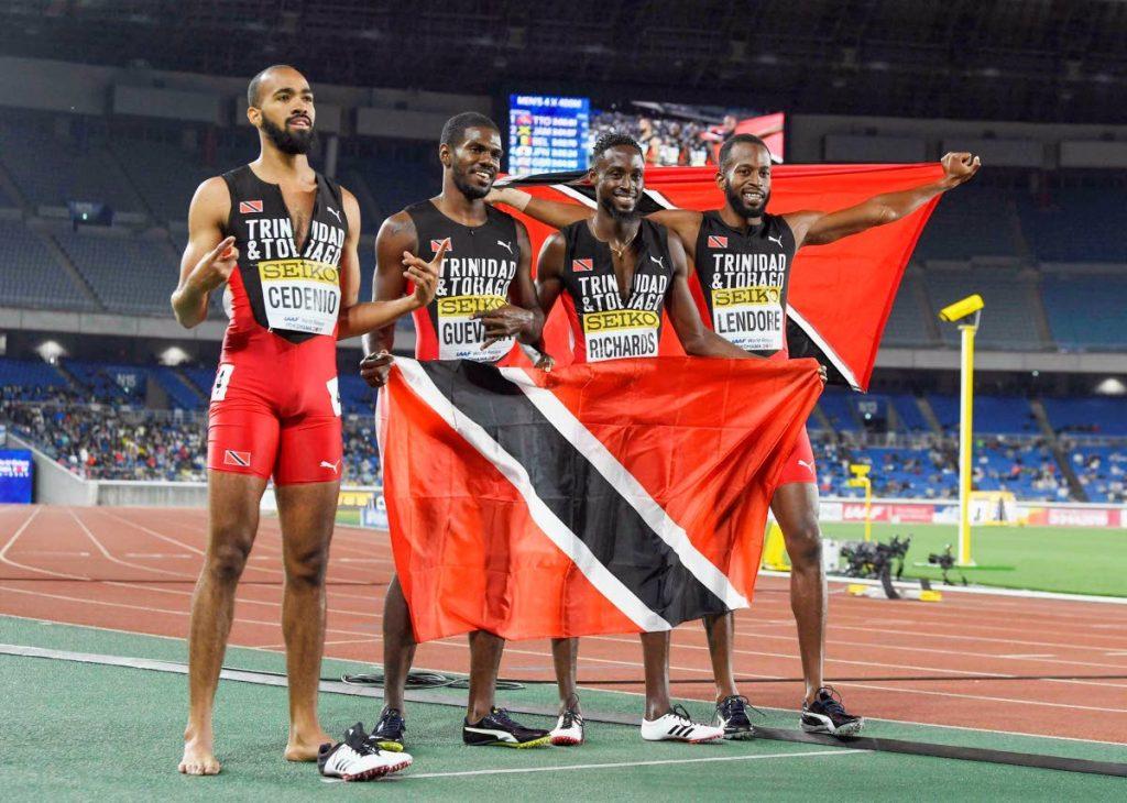 GOLDEN QUARTET: (left to right) TT's Machel Cedenio, Asa Guevera, Jereem Richards and Deon Lendore celebrate after winning the 4x400 meters relay final at the IAAF World Relays on Sunday,  in Yokohama, Japan. via AP
