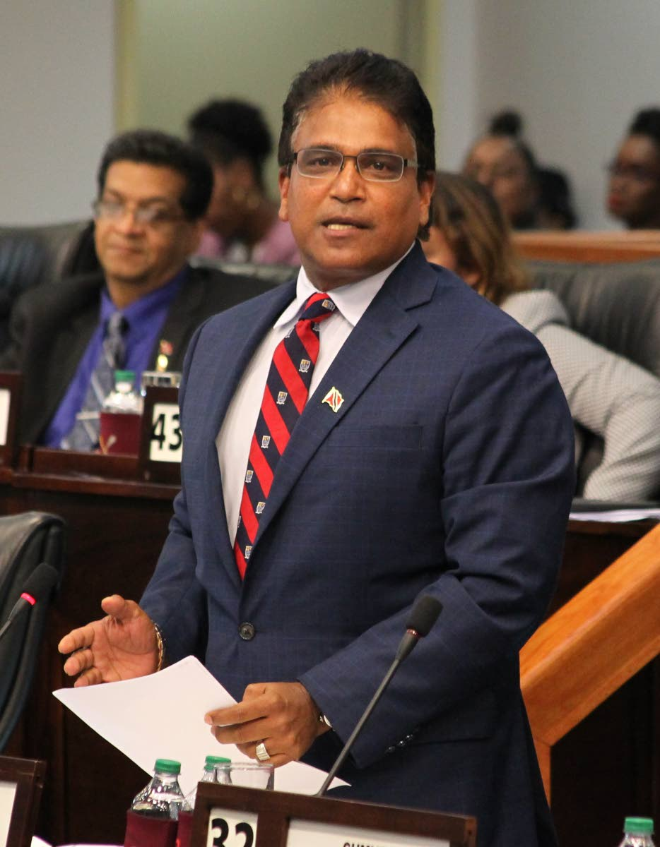 LISTEN UP: Oropouche East MP Dr Roodal Moonilal seeks answers from the government during yesterday's debate on the mid-year budget review in the Parliament.