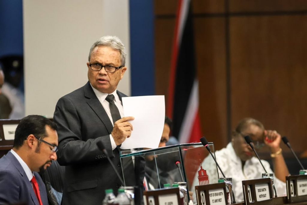 Finance Minister Colm Imbert in Parliament PHOTO BY JEFF K MAYERS
