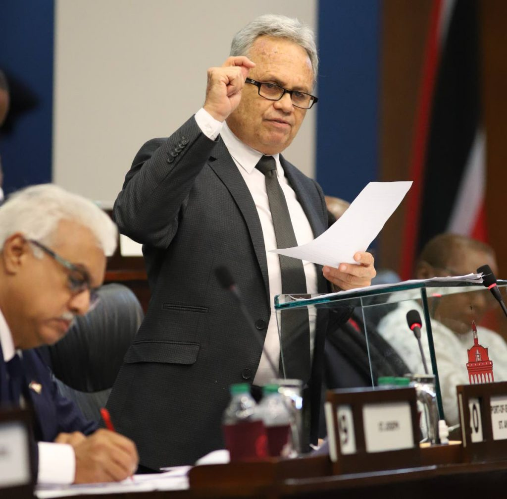 Finance Minister Colm Imbert during his mid-year budget review presentation in the House of Representatives on Monday May 13, 2019. PHOTO BY JEFF K MAYERS
