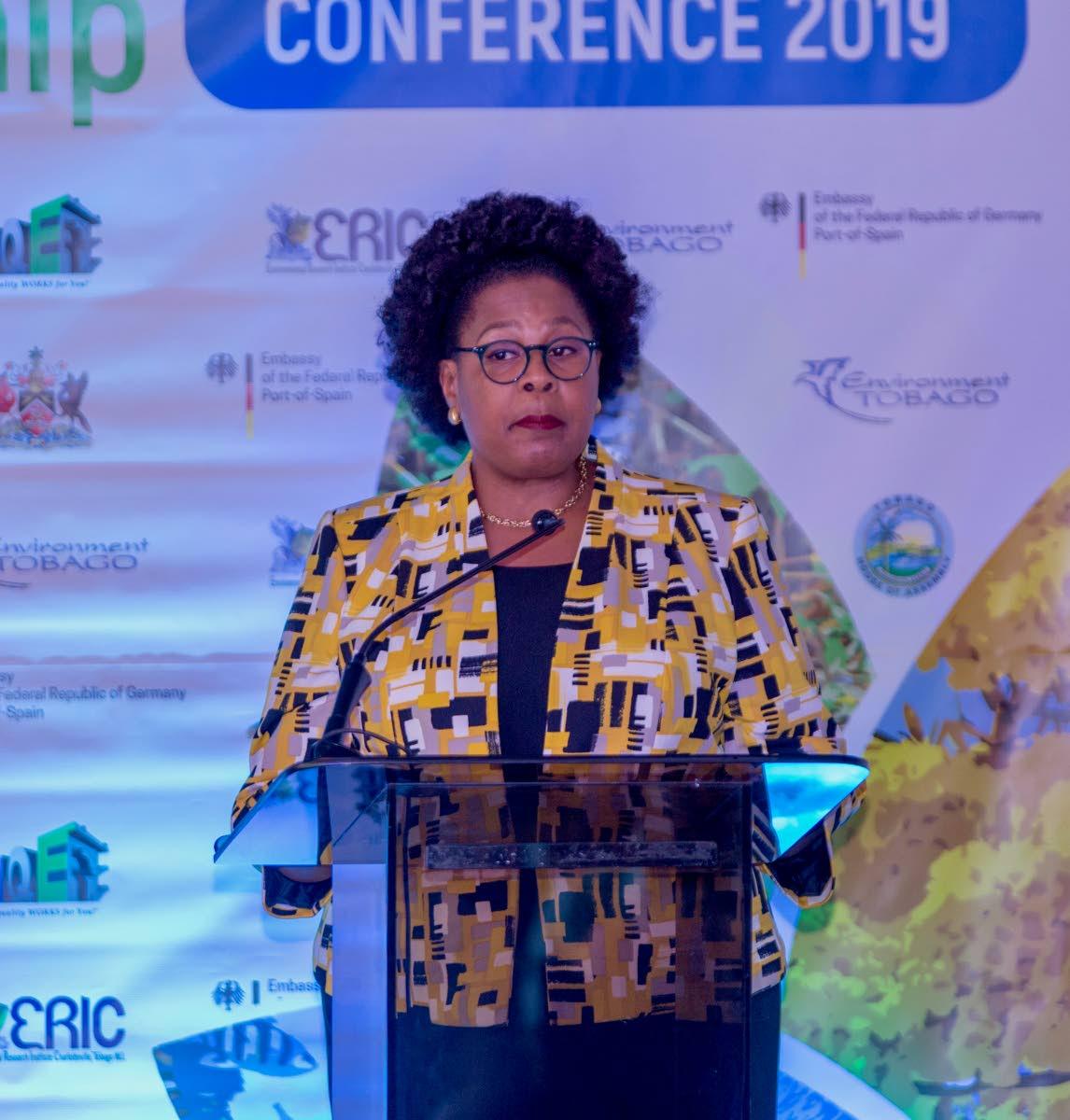 President Paula-Mae Weekes speaks at the inaugural Tobago Environment Conference on Monday.