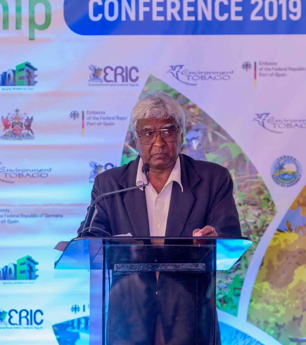 President of Environment Tobago Bertrand Bhikarry speaks at the inaugural Tobago Environment Partnership conference on Monday.