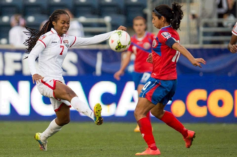 Dernelle Mascall (left) in action during a match  between TT and Costa Rica.