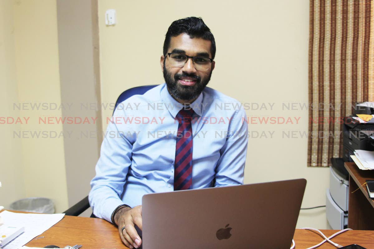 UNC Senator Saddam Hosein at his law office located at Keate street San Fernando. His office was discovered broken into on Friday morning where several items were stolen.  Photo: Lincoln Holder