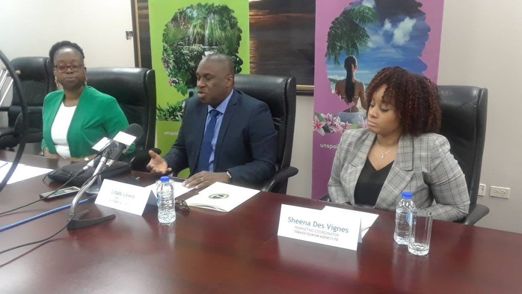 Tobago Tourism Agency (TTAL) CEO Louis Lewis, centre, addresses the media on Thursday alongside TTAL's director of product development and destination management Korice Nancis, left, and marketing co-ordinator Sheena Des Vignes.