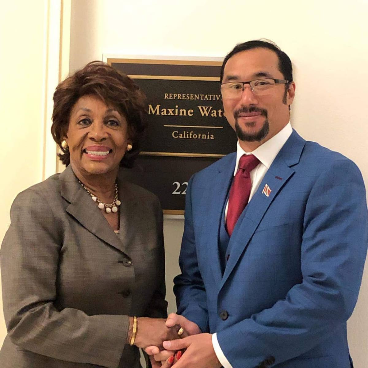 National Security Minister Stuart Young, right, meets Congresswoman Maxine Waters during a Caricom delegation visit to the US Congress on Wednesday. PHOTO COURTESY THE MINISTRY OF NATIONAL SECURITY