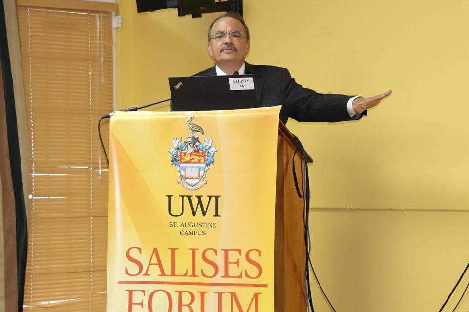 US analyst Jose Cardenas speaks on the humanitarian and political crisis in Venezuela at UWI on Thursday. PHOTO COURTESY THE US EMBASSY IN TT.