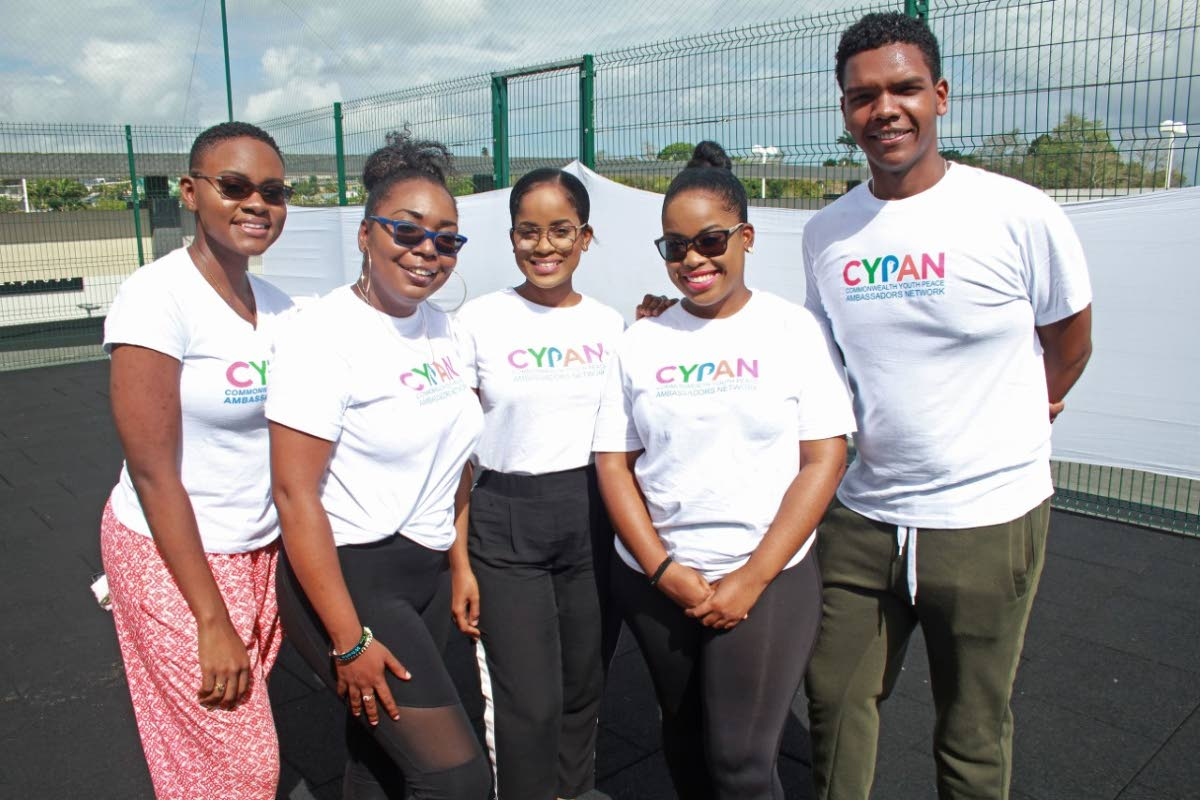 Country coordinator Terez Lord (centre) and other members of the Commonwealth Youth Peace Ambassador Network at its Breakfast and Yoga Soiree at South Park Mall, Fitness Centre on Sunday.