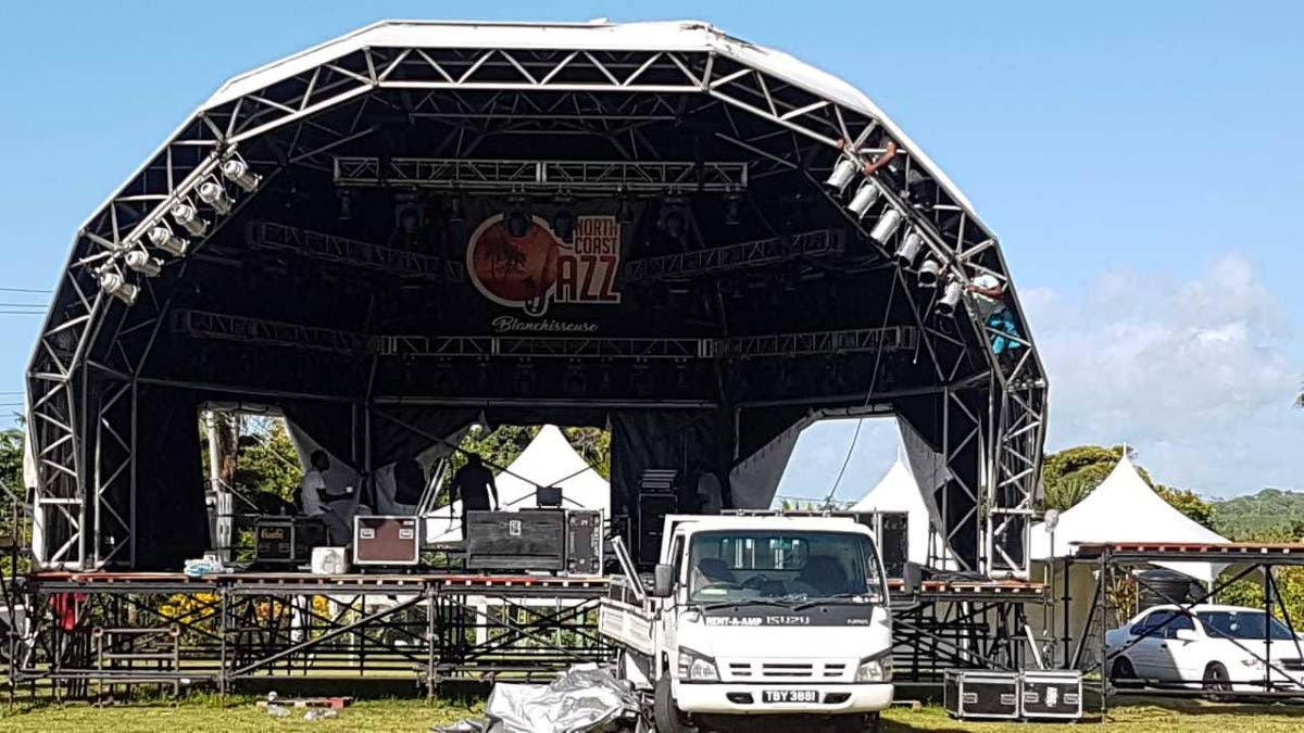 The stage for the North Coast Jazz Festival in Blanchisseuse.