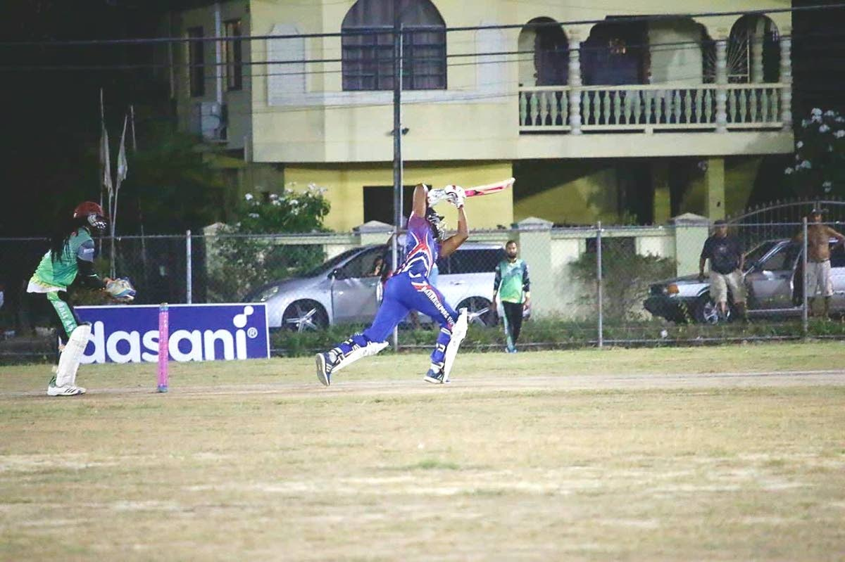 Jyd Goolie plays an off-side shot during his knock of 53 for Barrackpore United against All Apaches on Tuesday night.