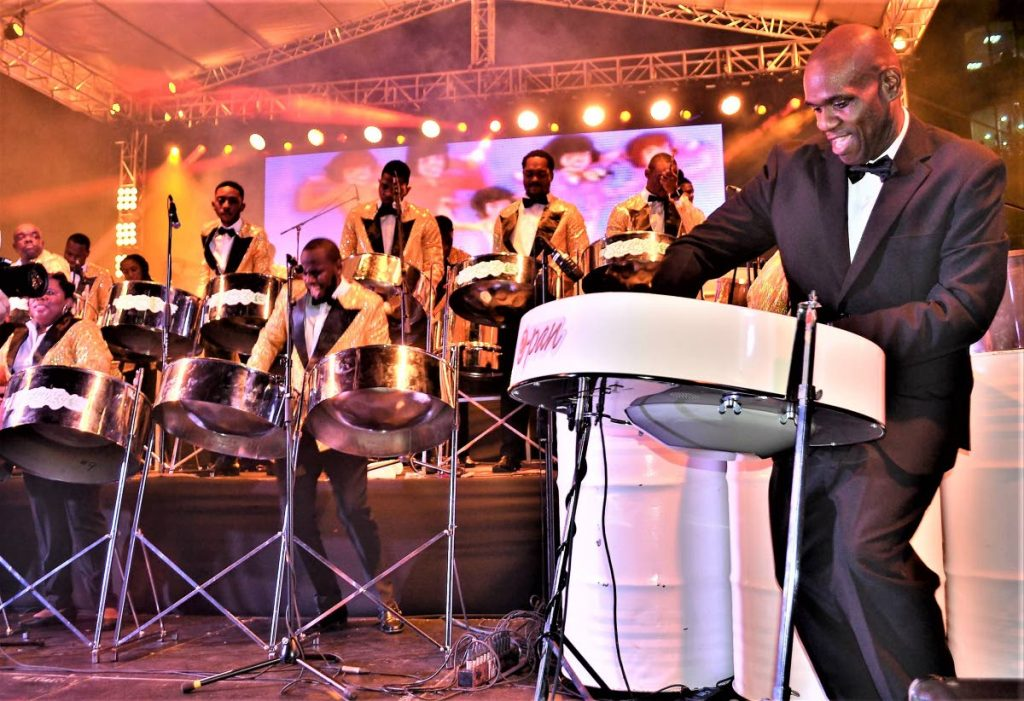 BPTT Renegades' arranger Duvone Stewart plays the e-pan at the band's 70th anniversary concert last year.