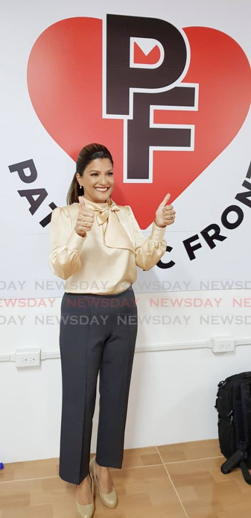 Mickela Panday, head of the newly formed Patriotic Front, at the political party's launch at Marie St, Chaguanas, on Saturday. PHOTO BY YVONNE WEBB