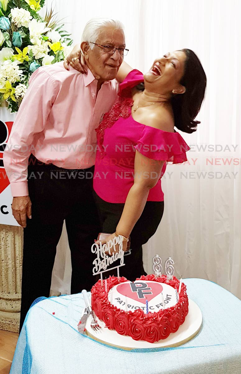 Former prime minister Basdeo Panday celebrates his 86th birthday with wife Oma at the launch of a new political party called the Patriotic Front led by daughter Mickela at Marie St Chaguanas. PHOTO BY YVONNE WEBB