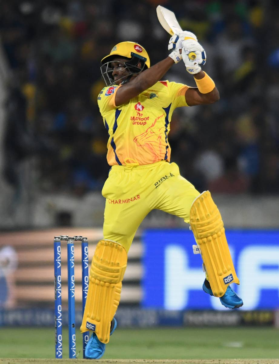 In this file photo, Chennai Super Kings cricketer Dwayne Bravo plays a shot during the 2019 Indian Premier League (IPL) Twenty20 final cricket match between Mumbai Indians and Chennai Super Kings at the Rajiv Gandhi International Cricket Stadium in Hyderabad on May 12.
