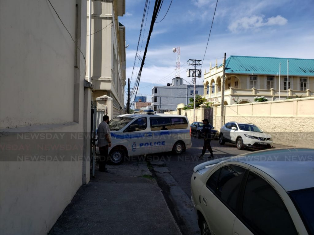 A police van drives into the St Mary's College compound on Friday morning. Photo by Kalifa Sarah Clyne