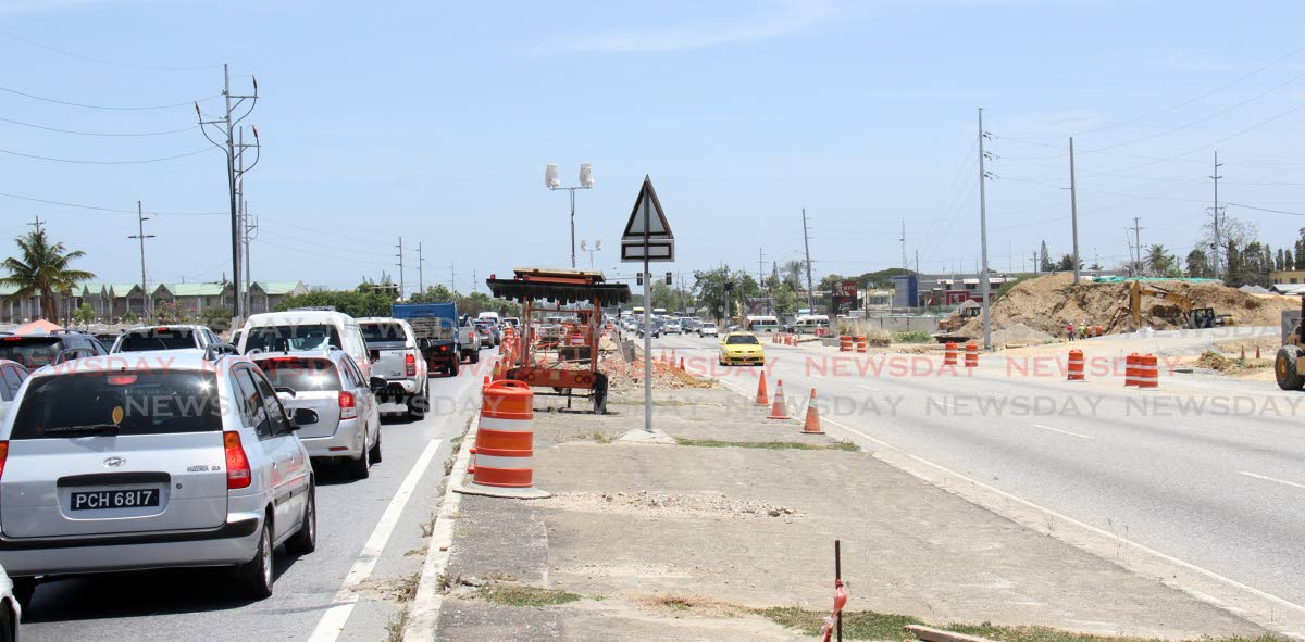 File photo: The Curepe/CR Highway intersection which is being transformed into an interchange to reduce traffic congestion.