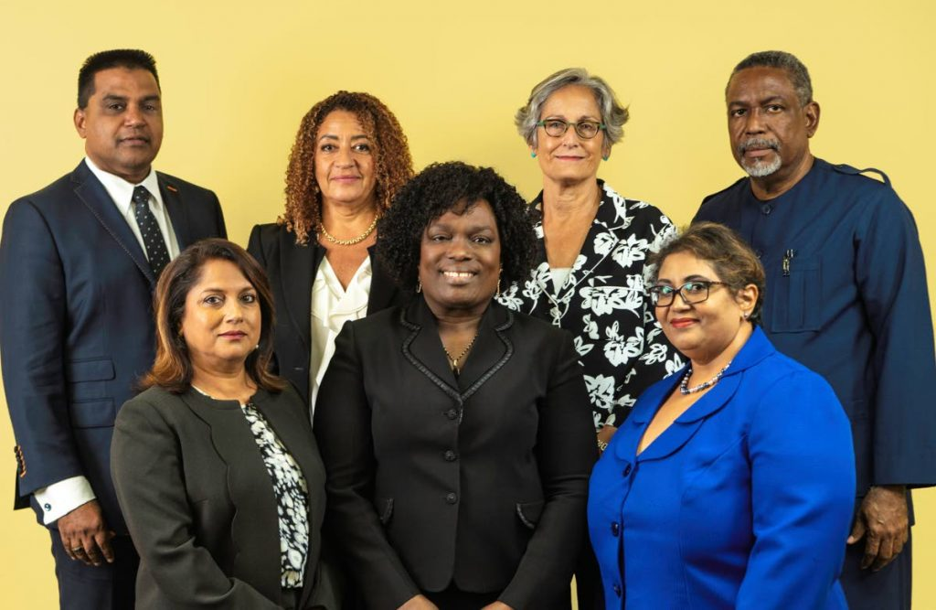 NEW MEMBERS: Front row from left, Indra Rampersad-Suite, Industrial Court president Deborah Thomas-Felix and Wendy Ali. Back row, from left, Nizam Khan, Elizabeth Solomon, Angela Hamel-Smith and Vincent Cabrera. PHOTO COURTESY THE INDUSTRIAL COURT