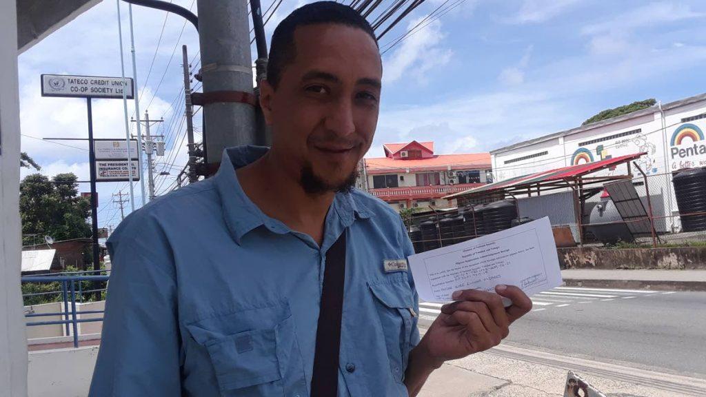 Hector Lucena Mijares after registering at Caroline building, Scarborough.