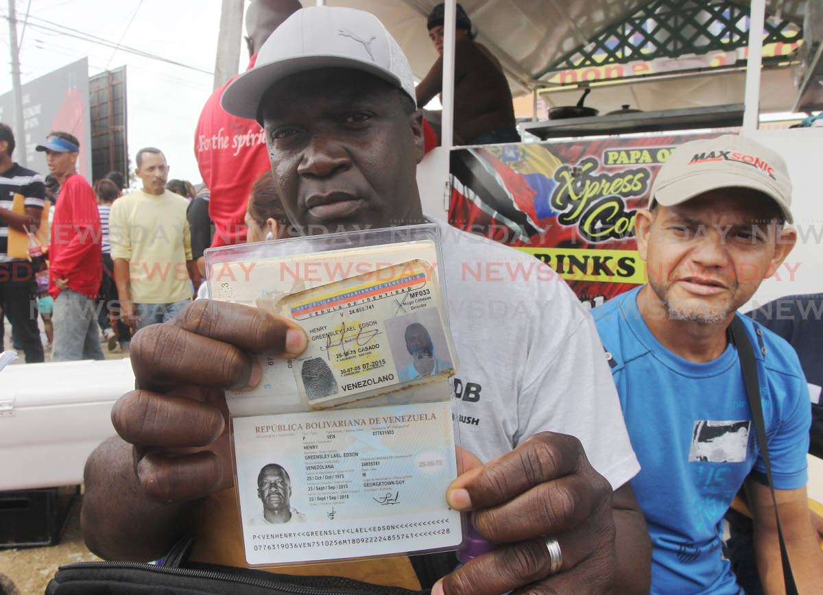 A Guyanese-born, naturalized Venezuelan, Greensley Lael Henry is hoping he can be registered along with other Venezuelan nationals at Achievors Banquet Hall, San Fernando.   Photo: Lincoln Holder